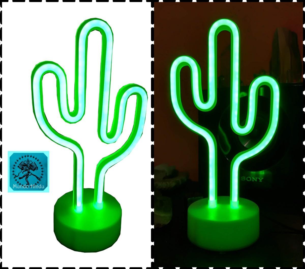 Deco Neon Luz Lampara De Bajo Cactus Consumo Simil Led wOkZulTPXi
