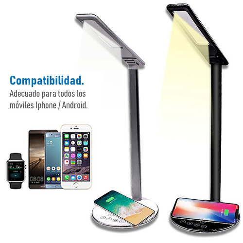 lampara led cargador qi inalambrico plegable fast charge msi
