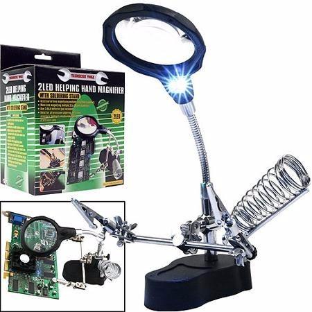 lampara led con lupa pinzas cocodrilo porta cautin ypt