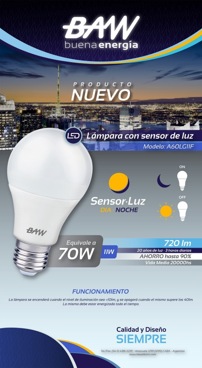 Dia Lámpara Fotocelula Sensor Baw Luz Con Led Noche 11w uwPikXZTOl