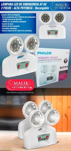 lampara led de emergencia philco 2 focos 18 led ultra brillo