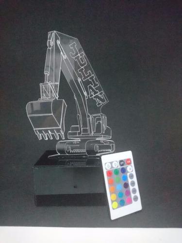 lámpara led decorativa 2d 3d retroexcavador diseños personal