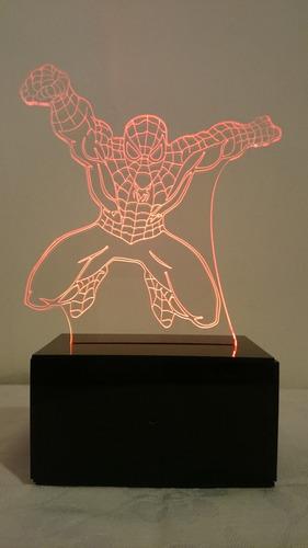 lámpara led decorativa 2d 3d spiderman diseños personalizabl