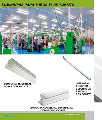 lampara led doble tubo t8 120cm industrial 85/265v hammer