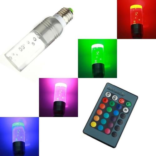 lampara led e27 3w rgb c/contro remoto 16 colore rgb 3w 220w