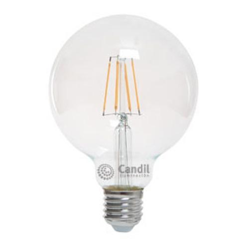 lampara led e27 globo 12cm vintage clara 6w calida candil