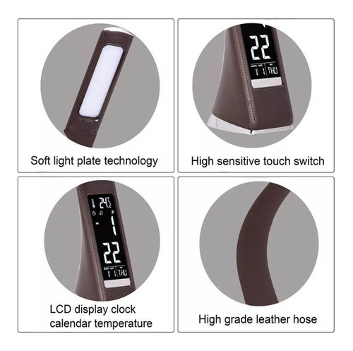 lampara led escritorio flexible cuero reloj temperatura