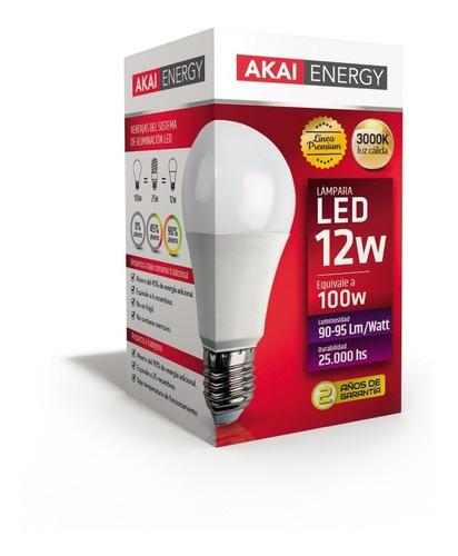 lampara led foco luz 12w = 100w rosca común e27 220v akai