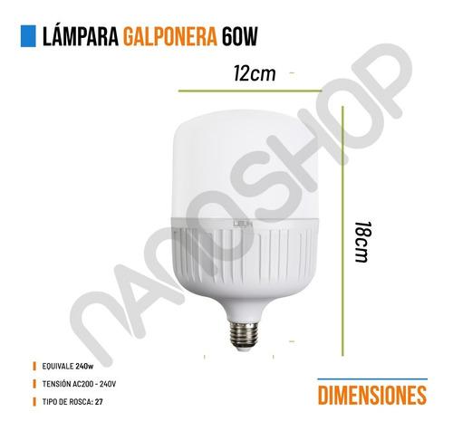 lampara led galponera 40w pack 6 e27 220v alta potencia fria