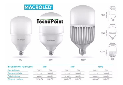 lámpara led galponera frio alta potencia 60w e27 - macro