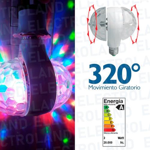 lampara led giratoria doble 3 colores bolichera foco led
