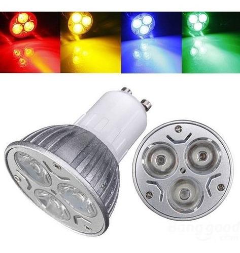 lámpara led gu10 3w 220v azul verde o roja alta potencia
