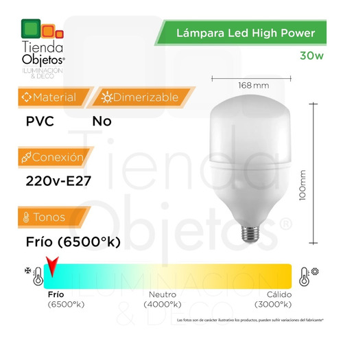 lampara led high power 30w e27 frío alta potencia 2000lm