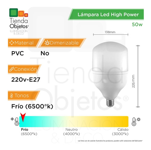 lampara led high power 50w e27 frío alta potencia 3840lm