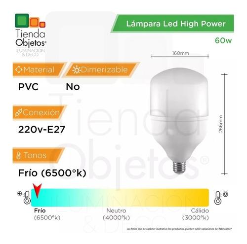 lampara led high power 60w e27 frío alta potencia
