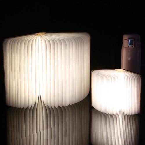 lampara led mesa recargable libro rgb plegable