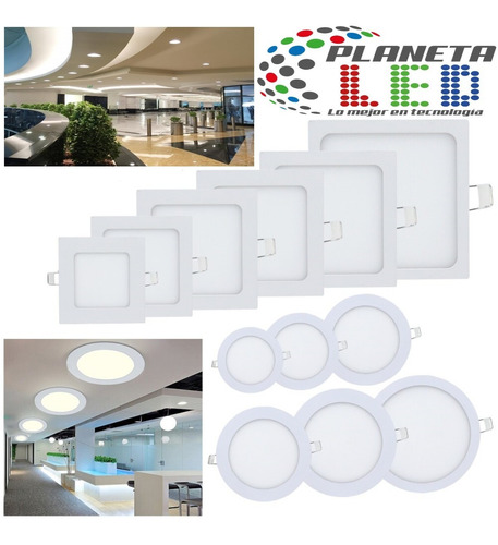 lampara led panel 3w 6w 12w 18w 24w luces gypsum empotrable
