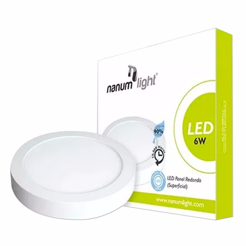 lámpara led panel redondo superficial 6w 6500k nanum light