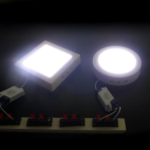 lampara led panel sobrepuesta cemento losa 6w 12w 18w 24w