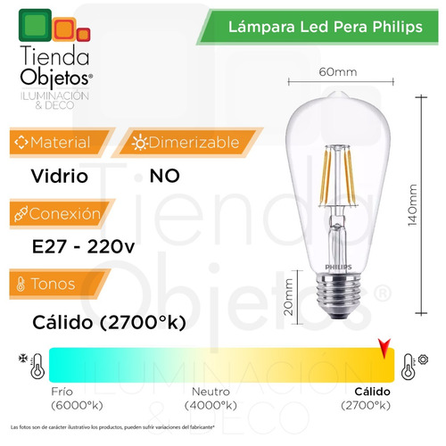 lampara led pera philips filamento vintage deco 6w = 60w