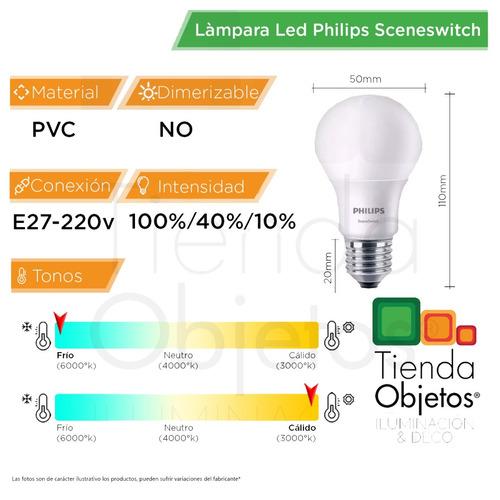 lampara led philips sceneswitch 3 intensidad 9w calida fria