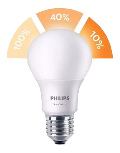 lampara led philips sceneswitch 3 intensidad 9w calida fria