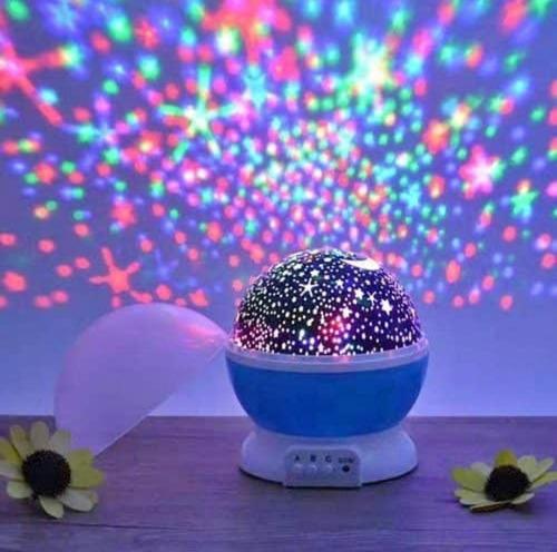 lámpara led proyector de estrellas giratoria.