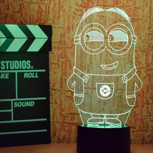 lámpara led rgb 3d acrílico minion mi villano favorito video