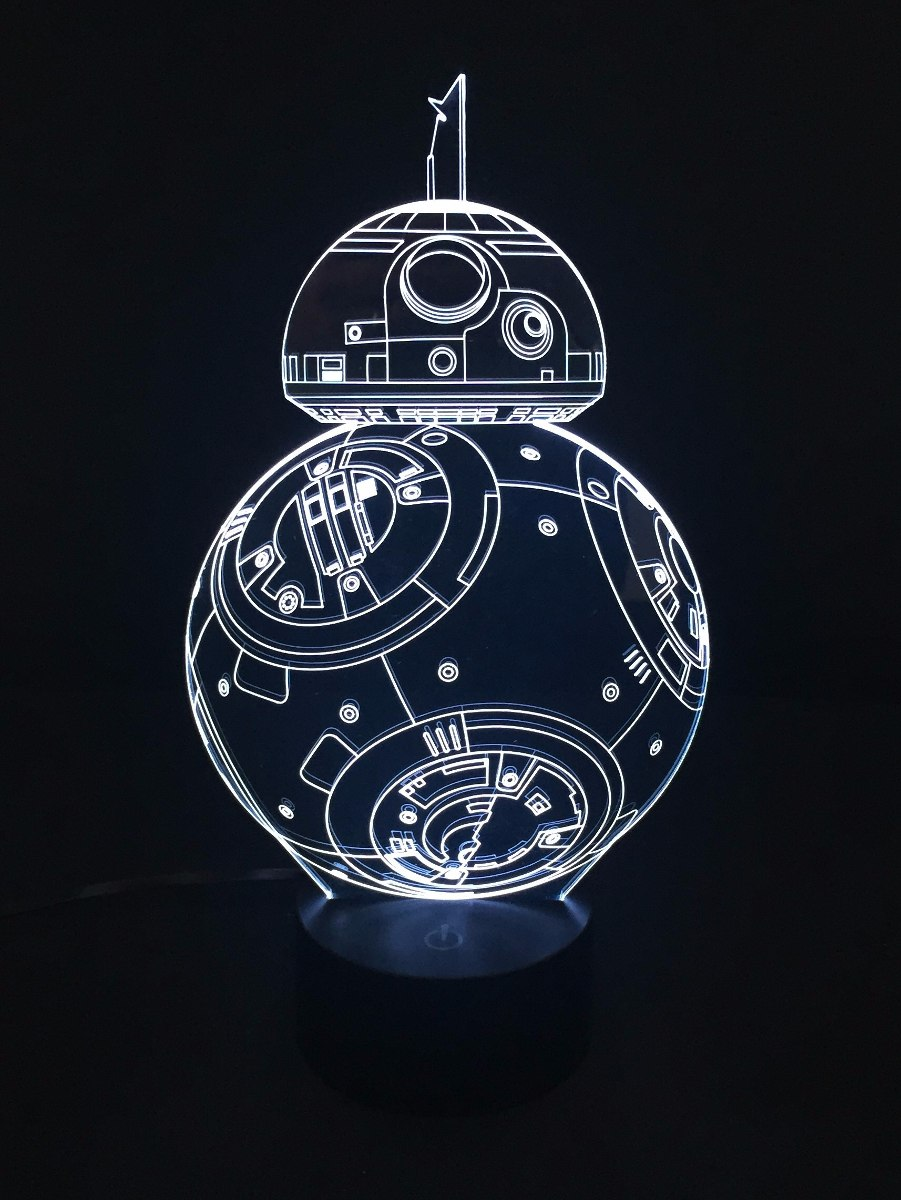 Lampara Led Rgb 3d Acrilico Star Wars Bb8 Video 599 00 En