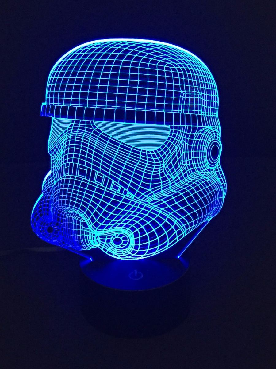 Lampara Led Rgb 3d Acrilico Stormtrooper Star Wars Video 599 00
