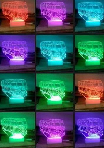 lampara led rgb 3d combi control inalambrico