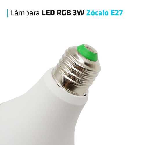 lampara led rgb 3w e27 220v control remoto 16 colores n2m