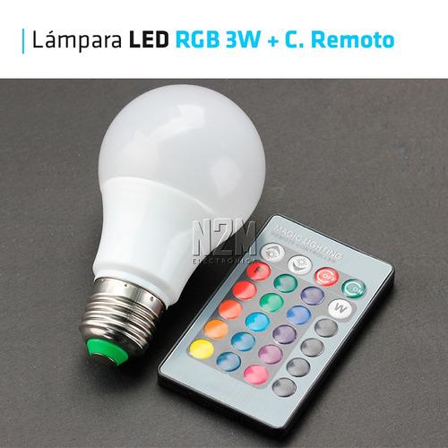 lampara led rgb 3w e27 220v control remoto 16 colores n2m