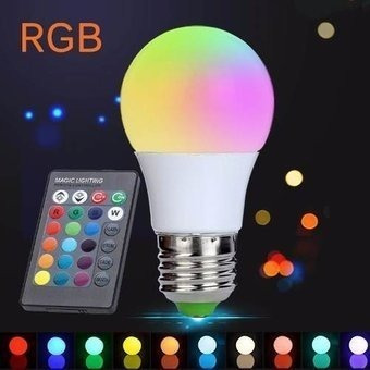 lampara led rgb 5w control remoto 15 colores + blanco frio