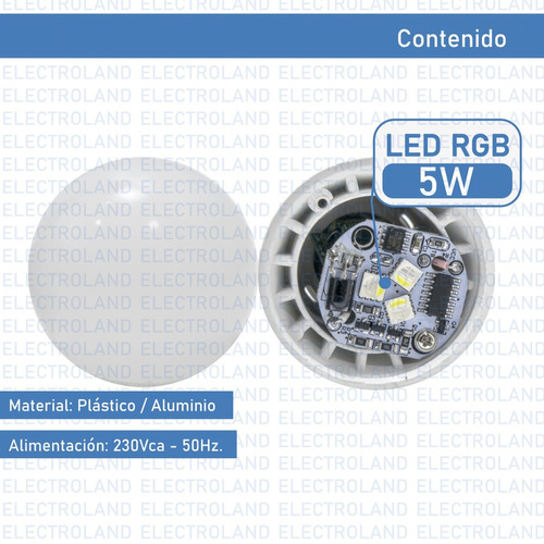 lampara led rgb 5w e27 220v control remoto 16 colores oferta