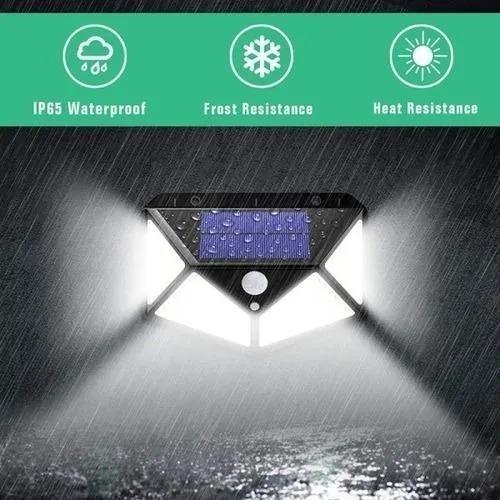 lámpara led solar con sensor de luz y movimiento impermeable