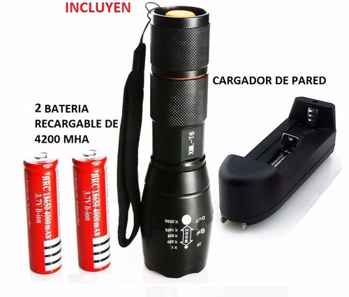 lampara led tactica ultrafire xml-t6 recargable 2000 lumens