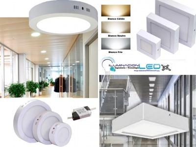 lampara led tipo panel 18w sobrepuesta ideal cemento losa