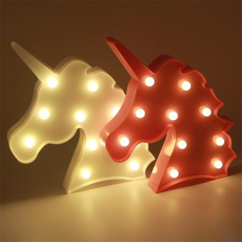 lampara led unicornio 3d luz de noche