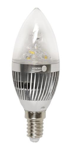lámpara led vela 3 w mignon e14 base metal brillo oferta 7+1