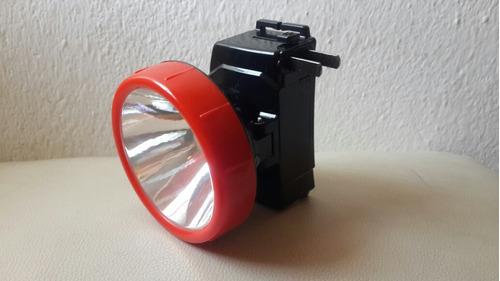 lampara linterna de cabeza frente led  recargable 1w