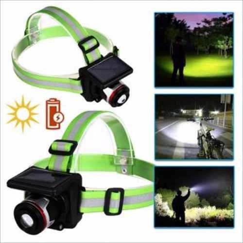 lampara linterna de cabeza solar camping minero emergencia