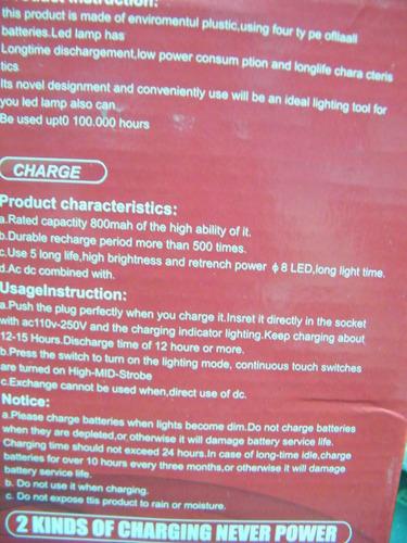 lampara linterna solar recargable de luz led+in-usb cargador