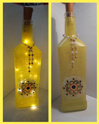lámpara luces led. botella o frasco de vidrio.