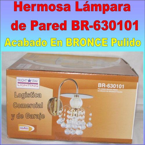 lampara lujo pared 1 luz acabado bronce pulido br-630101