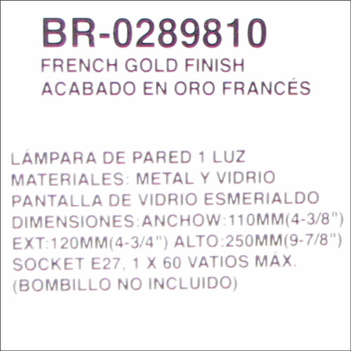 lampara lujo pared acabado en oro frances 1 luz  br-0289810