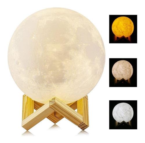 lampara luna impresa en 3d, touch, cambia de colores 15cm