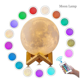 Lampara Luna Moda Minimalista 3d 16 Color Moon Lamp 15cm