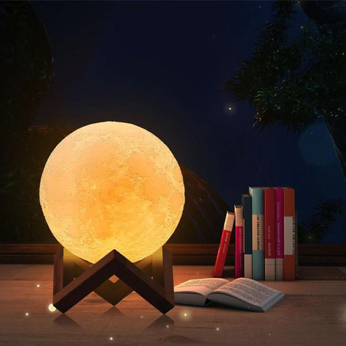 lampara lunar led 3d luna moonlight 16 colores
