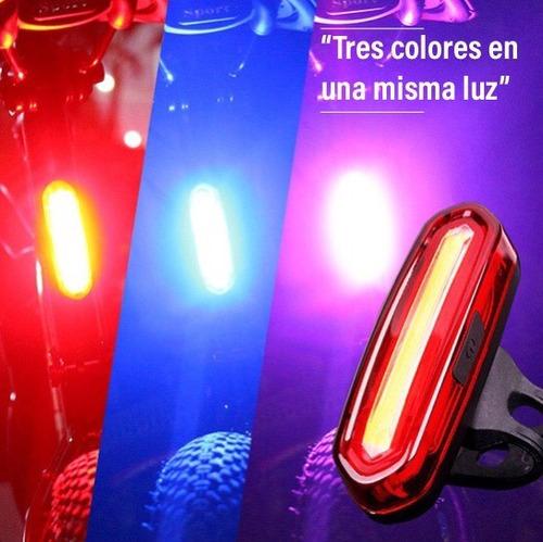 lampara luz trasera bicicleta recargable led tricolor usb